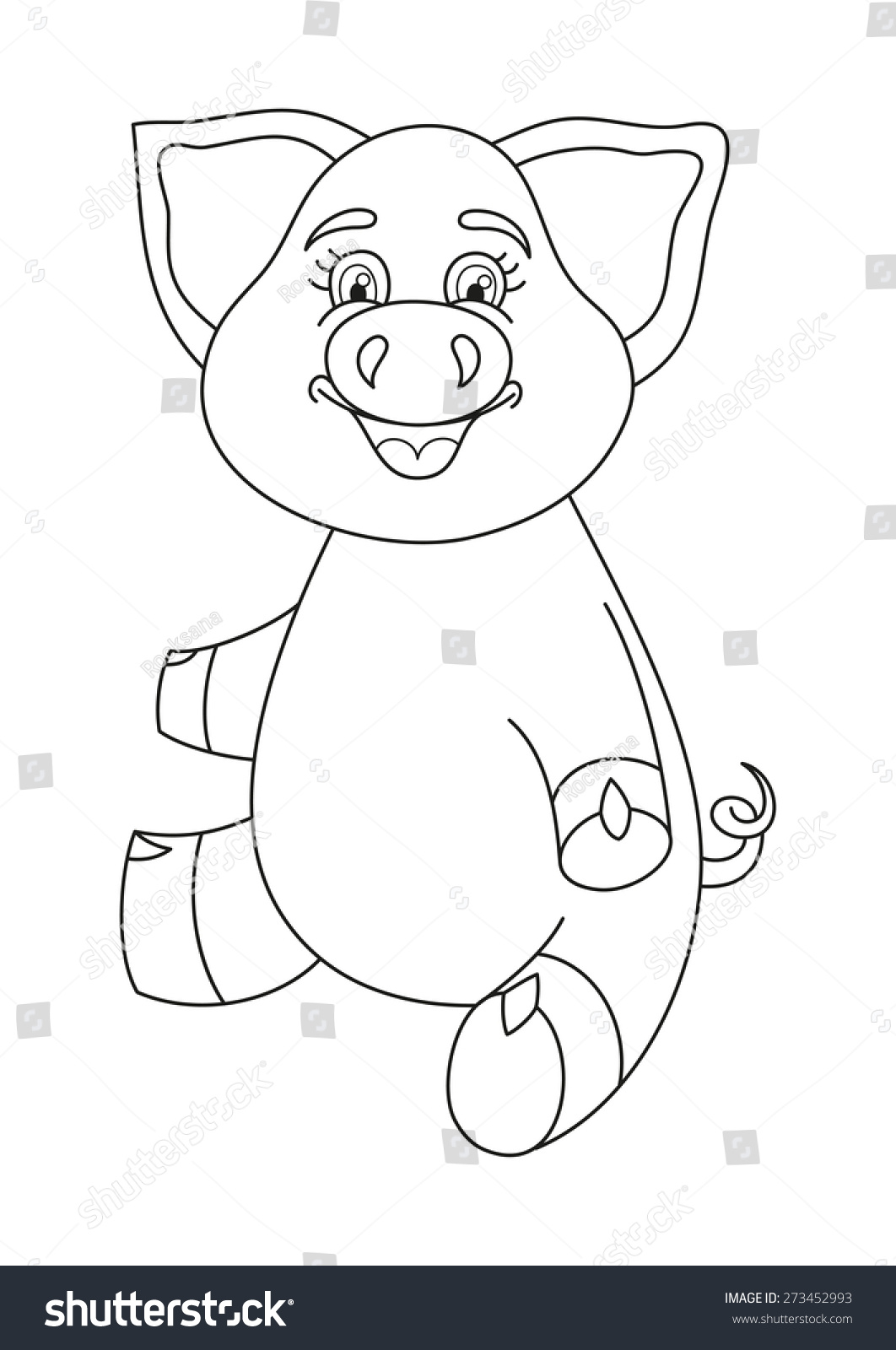 vector illustration cute pig funny piggy stock vector 273452993