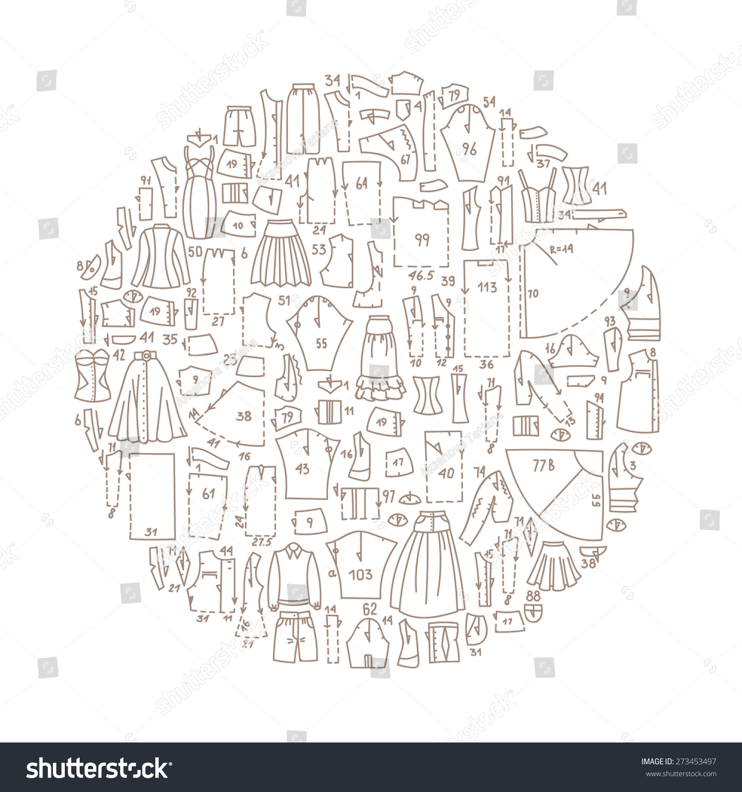 Hand Drawn Doodle Frame Clothes Sewing Stock Vector 273453497 ...