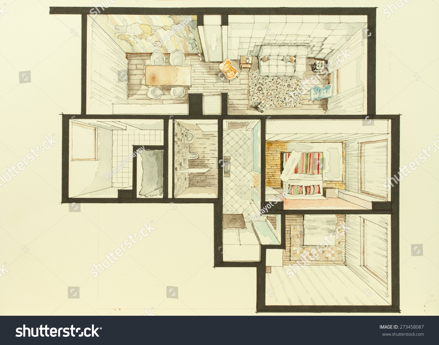 Representative graphic material apartment flat watercolor for Apartment web design