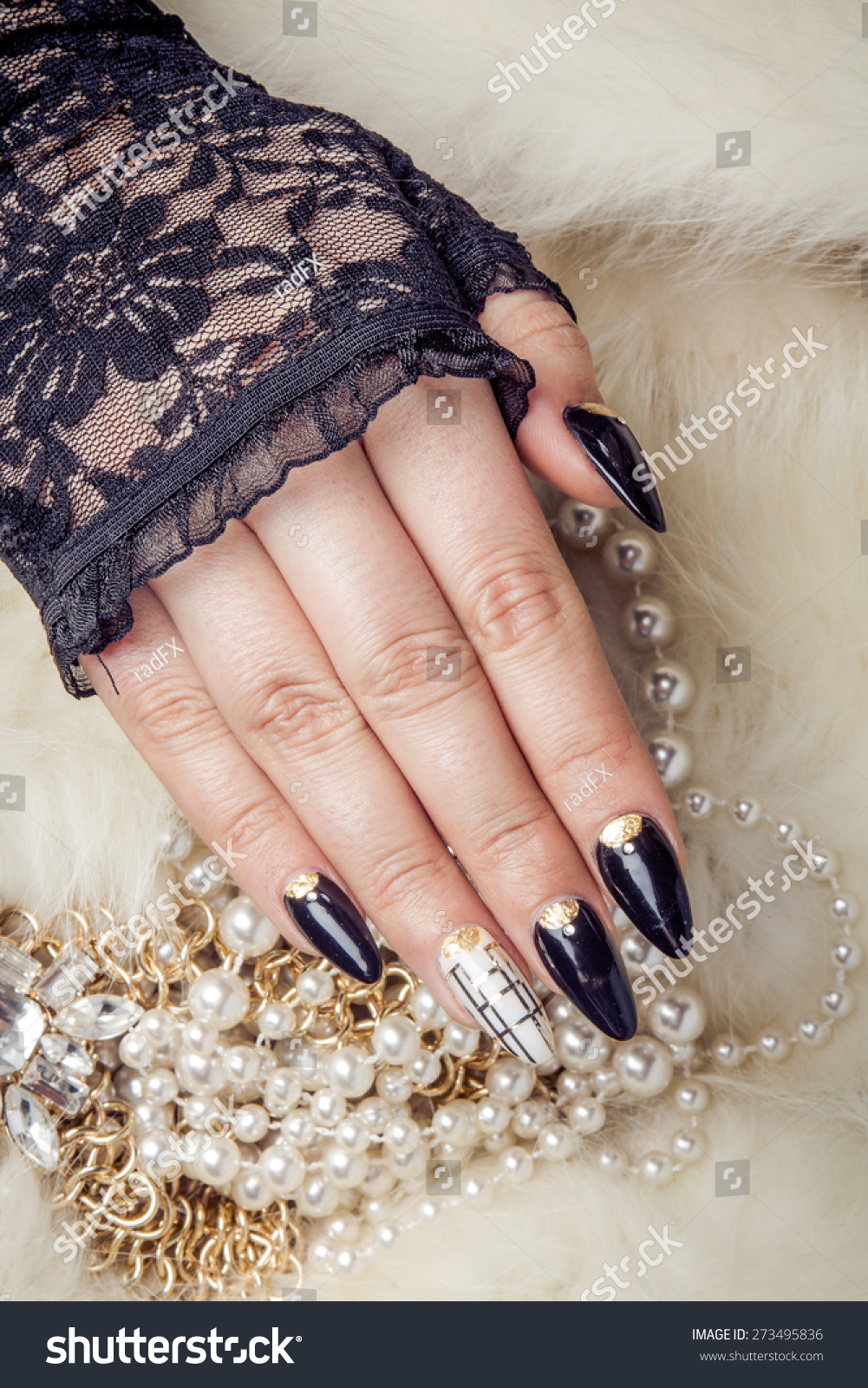 Retro Gold Pearl Jewels Extreme Long Stock Photo (Royalty Free ...