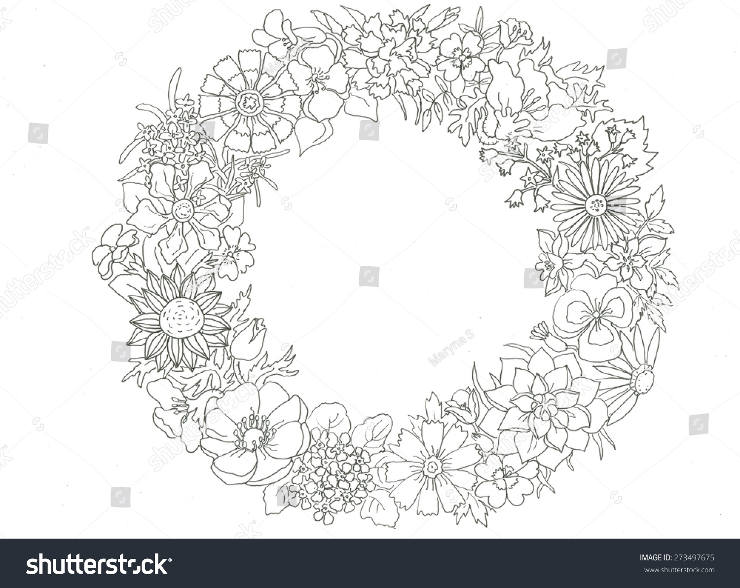 coloring page flower wreath silhouette illustration stock