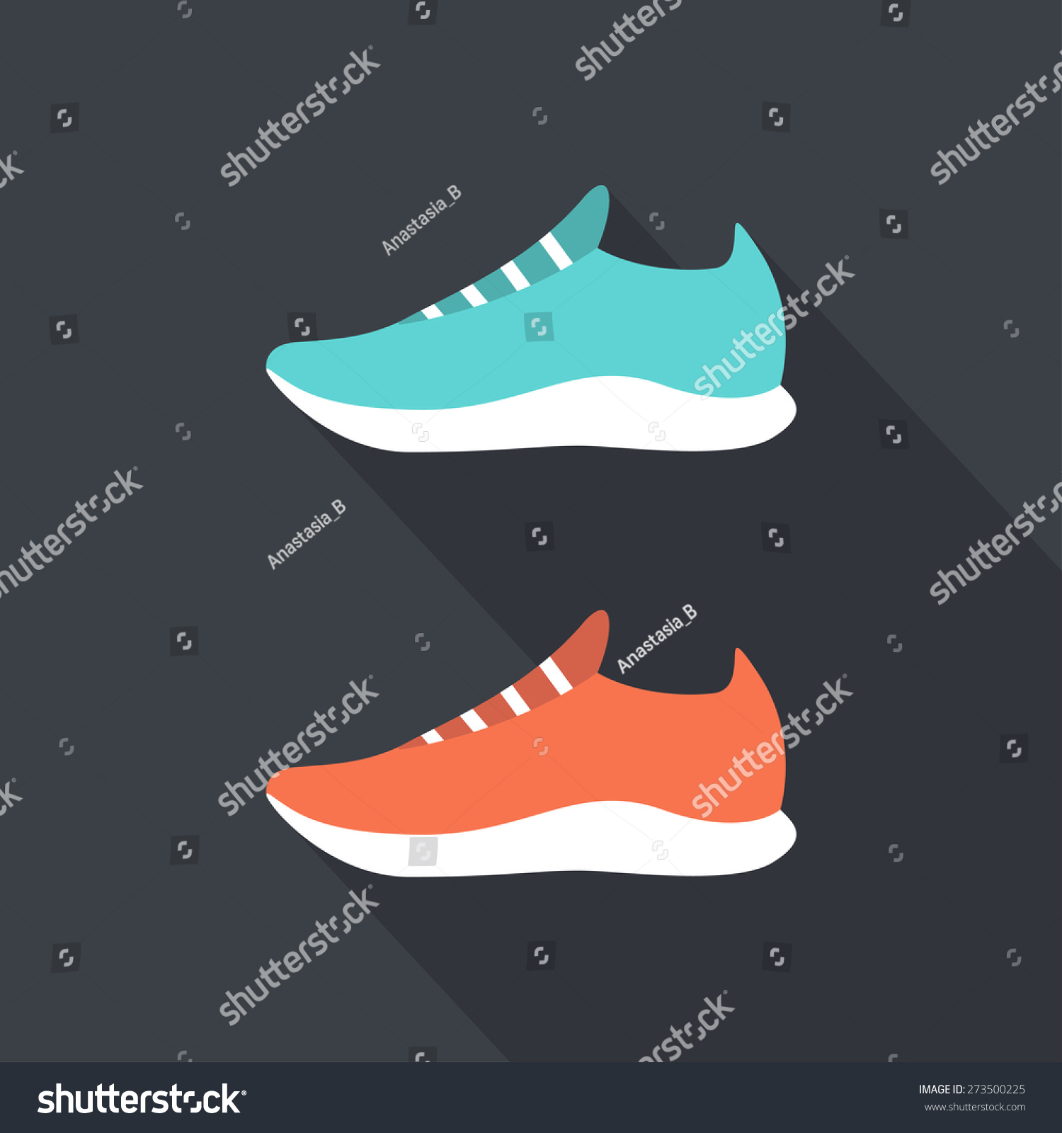 Running Shoes Sport Shoes Flat Design Stock Vector (Royalty