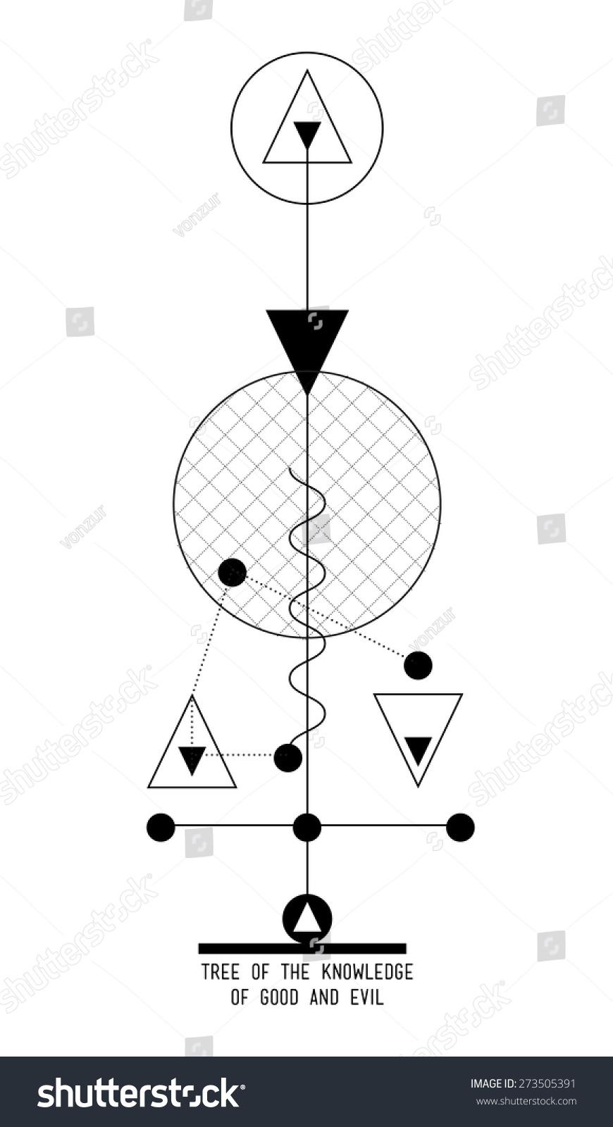 Tree knowledge good evil abstract geometric stock vector for Tree of knowledge of good and evil tattoo