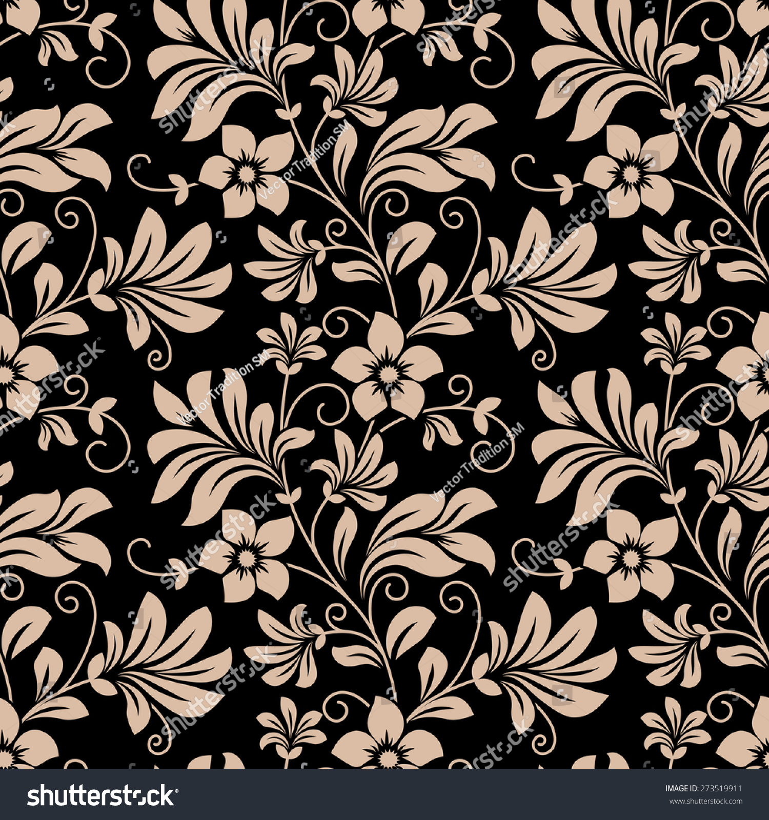 Vintage Floral Wallpaper Seamless Pattern Trailing Stock