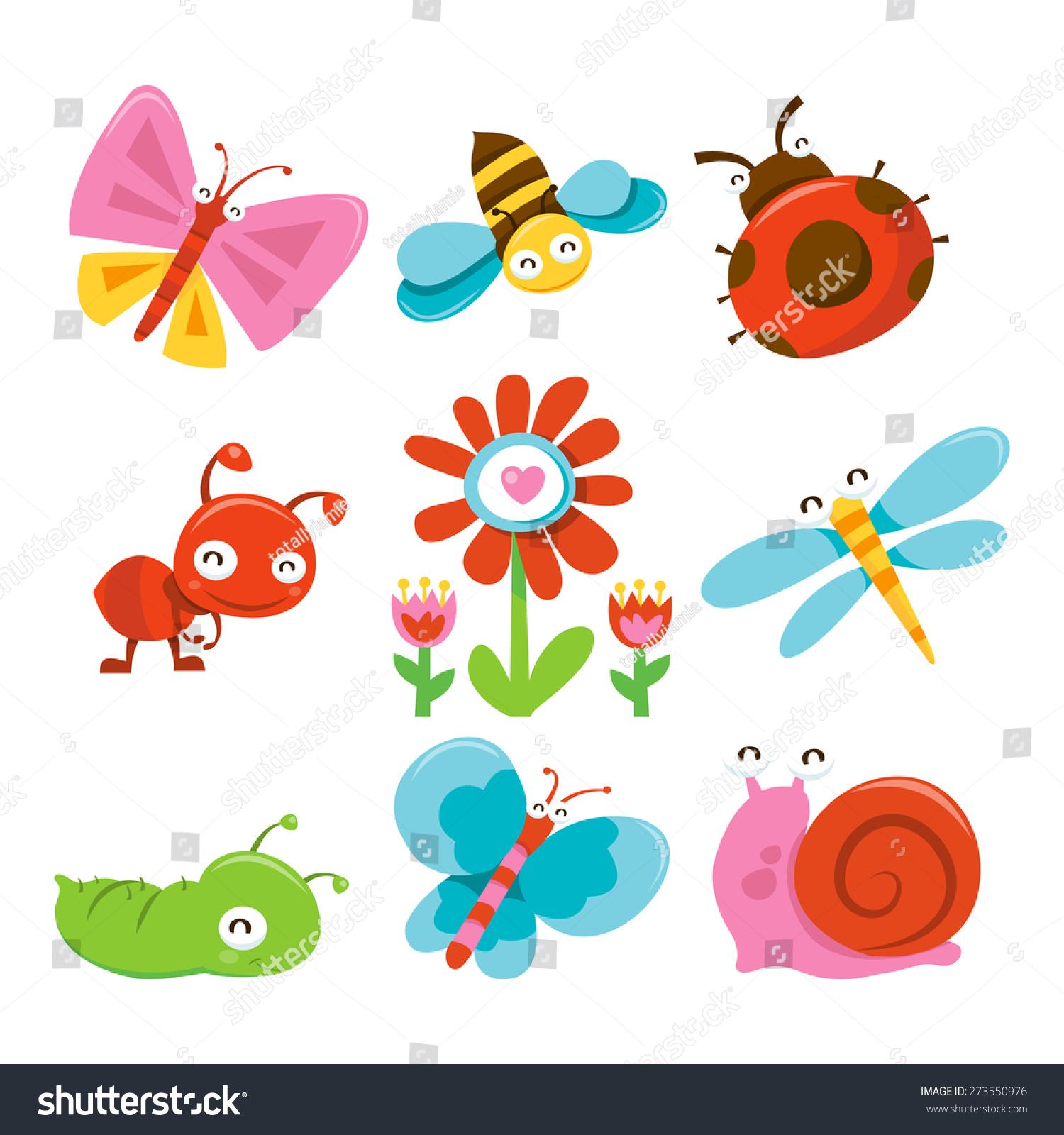Garden Cute Cartoon: Cartoon Vector Illustration Happy Sweet Cute Stock Vector