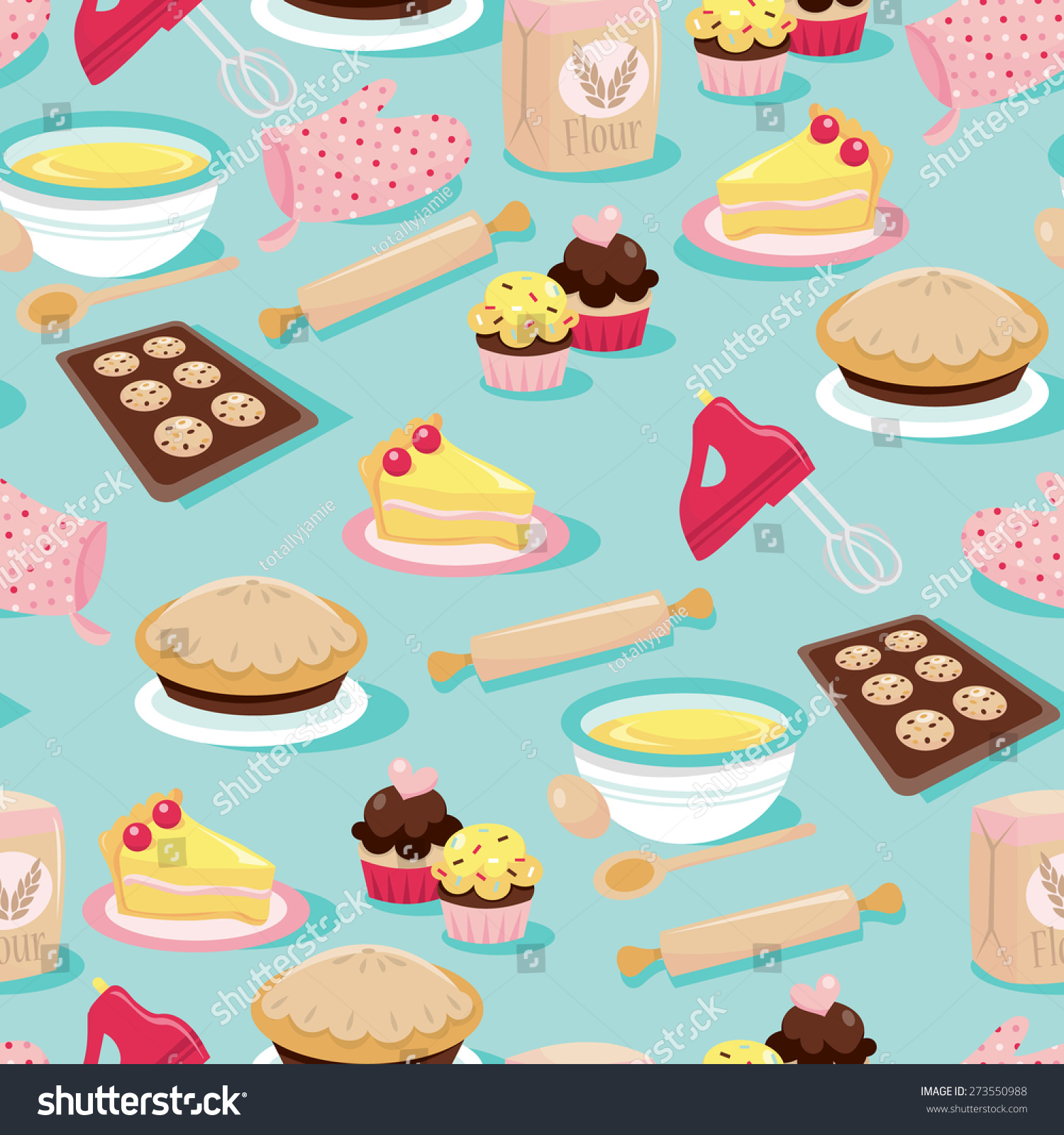 a cute retro inspired baking icons seamless pattern