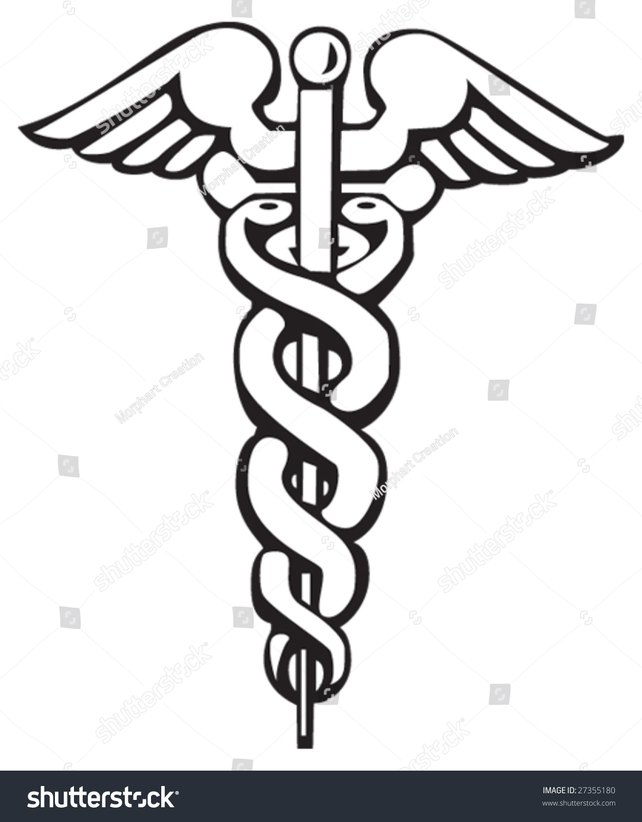 Caduceus Greek Sign Symbol Tattoo Artwork Stock Vector Royalty Free