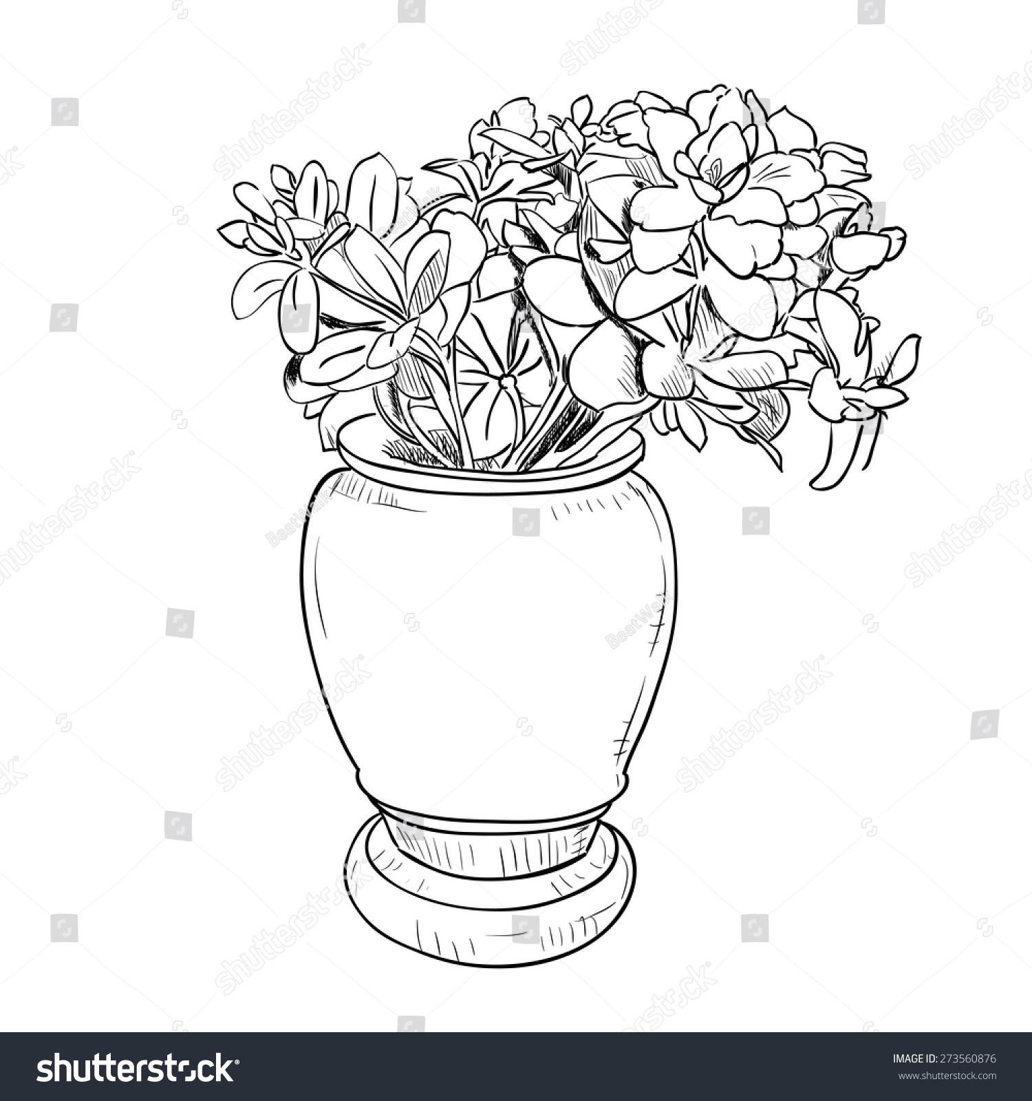Vector Drawing Sketch Vase Flowers Hand Stock Vector