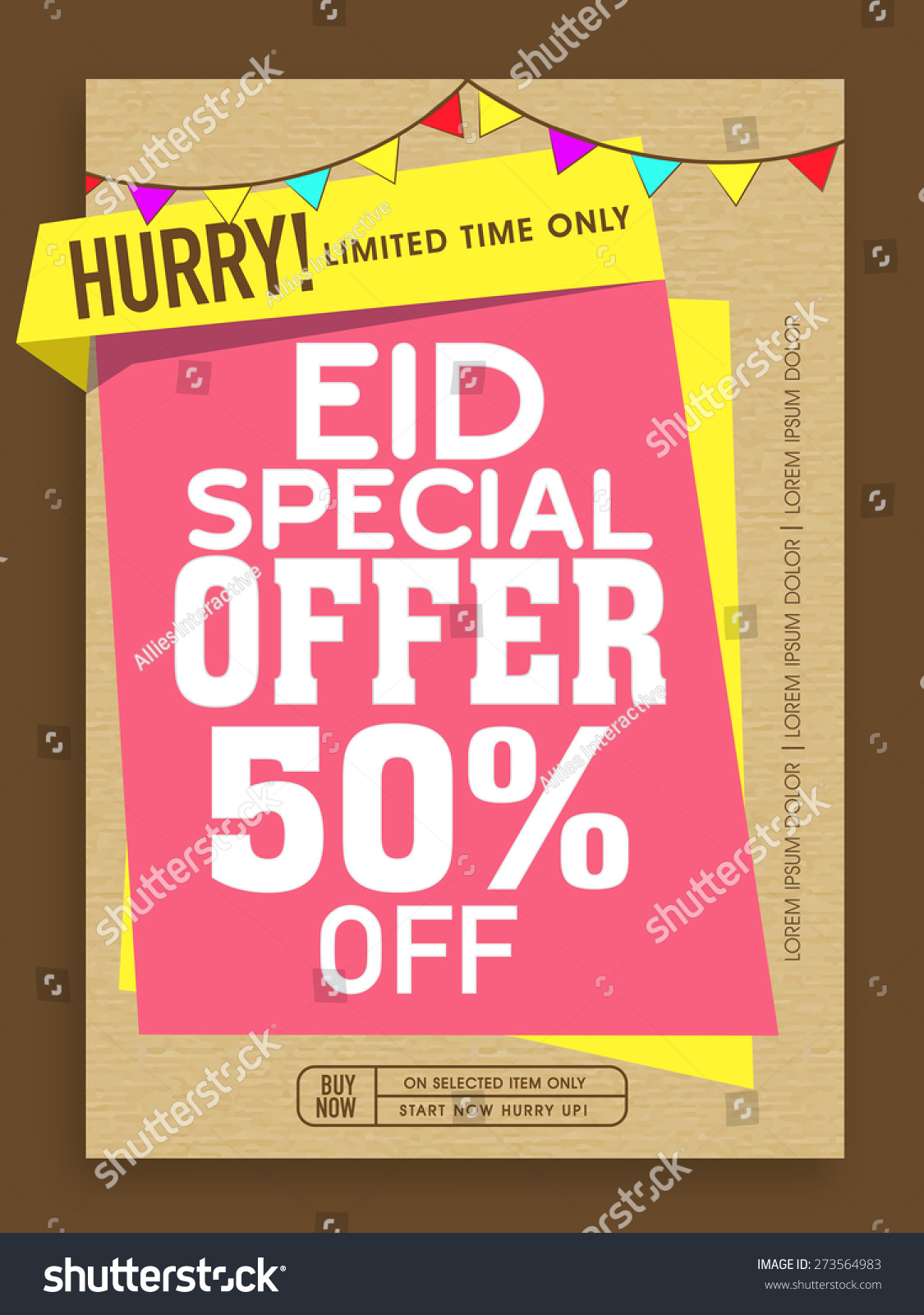 special offer poster banner flyer stock vector  special offer poster banner or flyer decorated colorful buntings on occasion of islamic