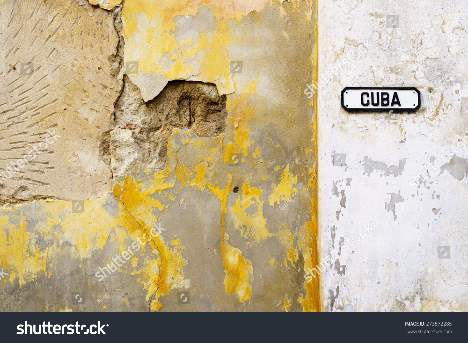 Old Sign Cuba Street On Rustic Stock Photo (100% Legal Protection ...
