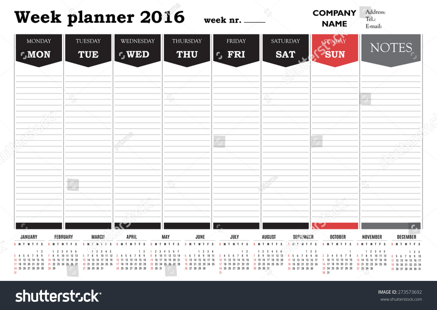 Office Calendar 2016 : Week planner calendar black white stock vector royalty free