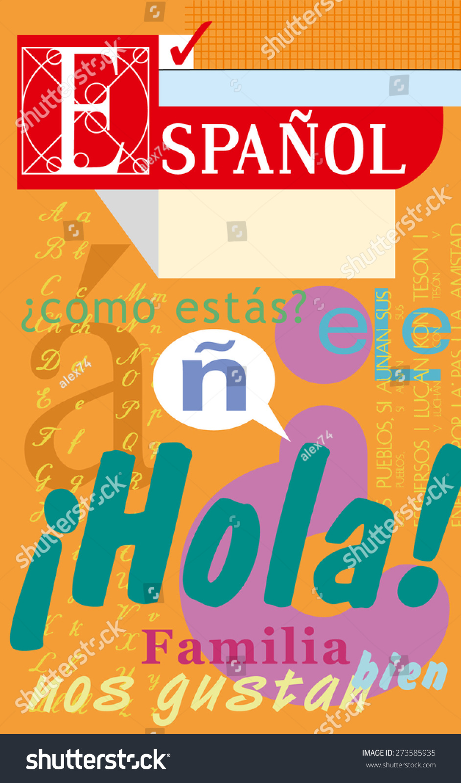 Workbooks spanish language workbooks : Spanish Language Textbook Notebook Vector Typographics Stock ...