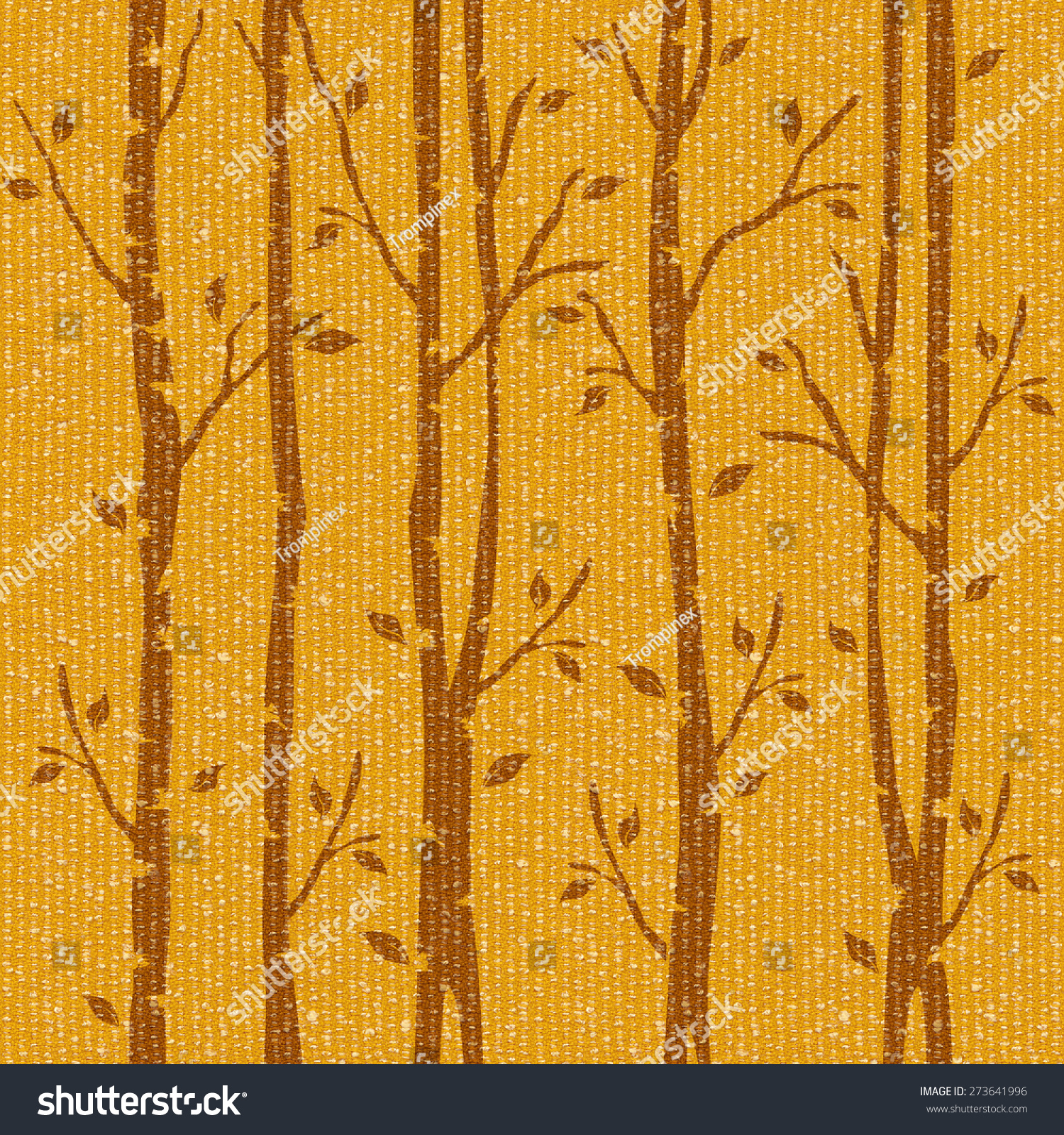 Abstract Decorative Trees Alley Interior Wall Stock Illustration ...