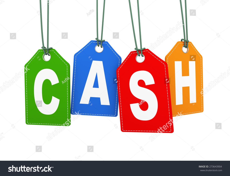 3 d illustration cash word text hanging stock illustration 273643904