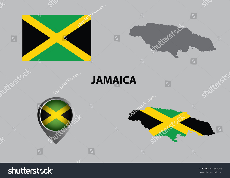 Map Jamaica Symbols Stock Vector Royalty Free 273648056 Shutterstock