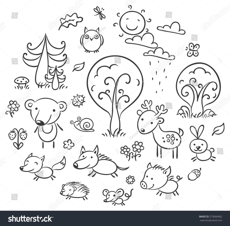 Set Cartoon Forest Animals Plants Black Stock Vector 2018