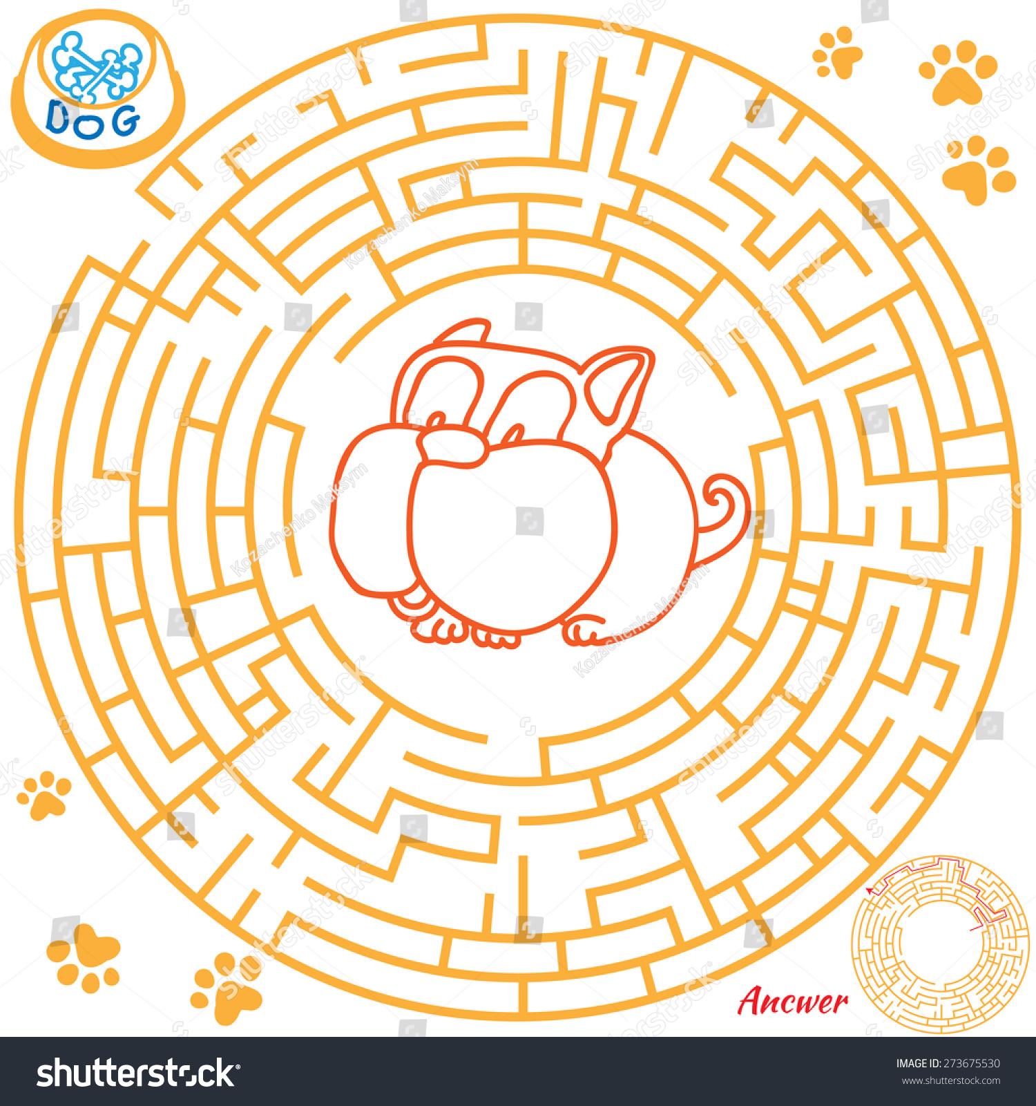 Funny Labyrinth Help Dog Find Bone Stock Illustration 273675530 ...