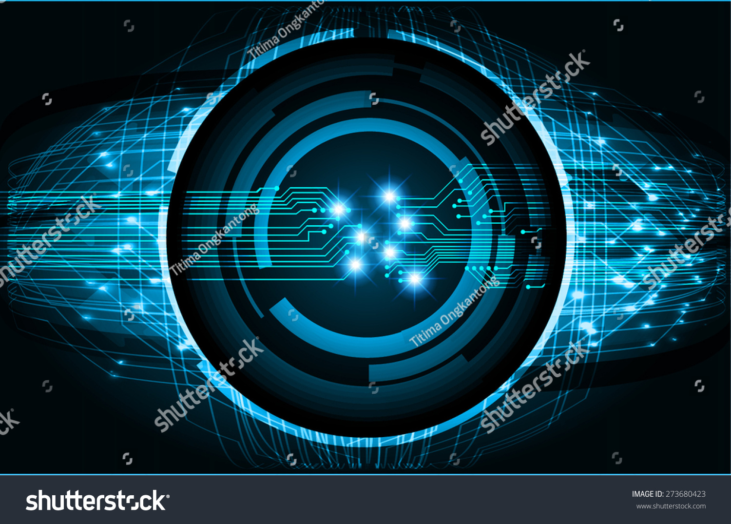 Abstract Circuit Board Background By Silvertiger: Dark Black Color Light Abstract Technology Stock Vector