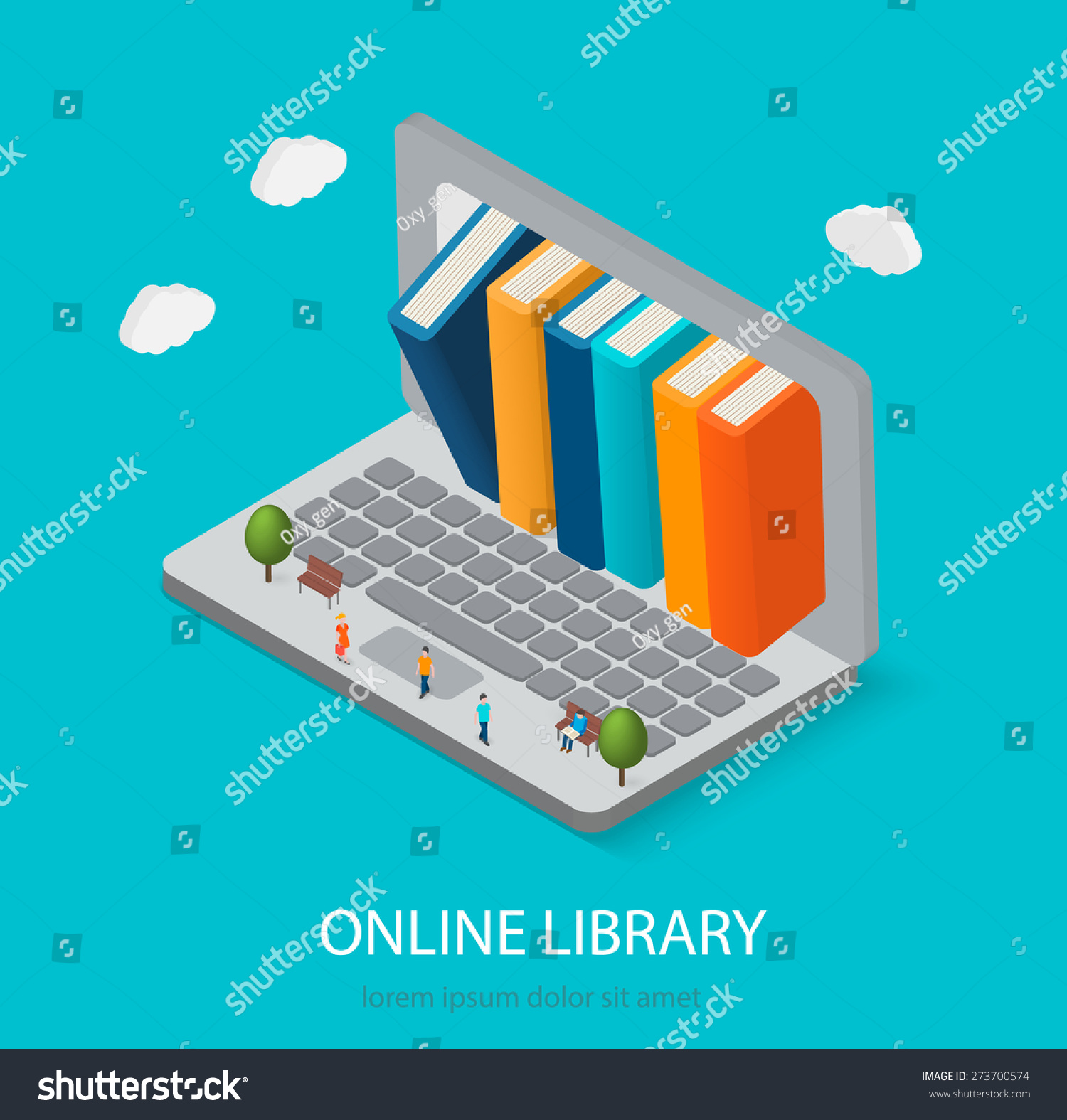 flat isometric online books shop digital stock vector 273700574 shutterstock. Black Bedroom Furniture Sets. Home Design Ideas
