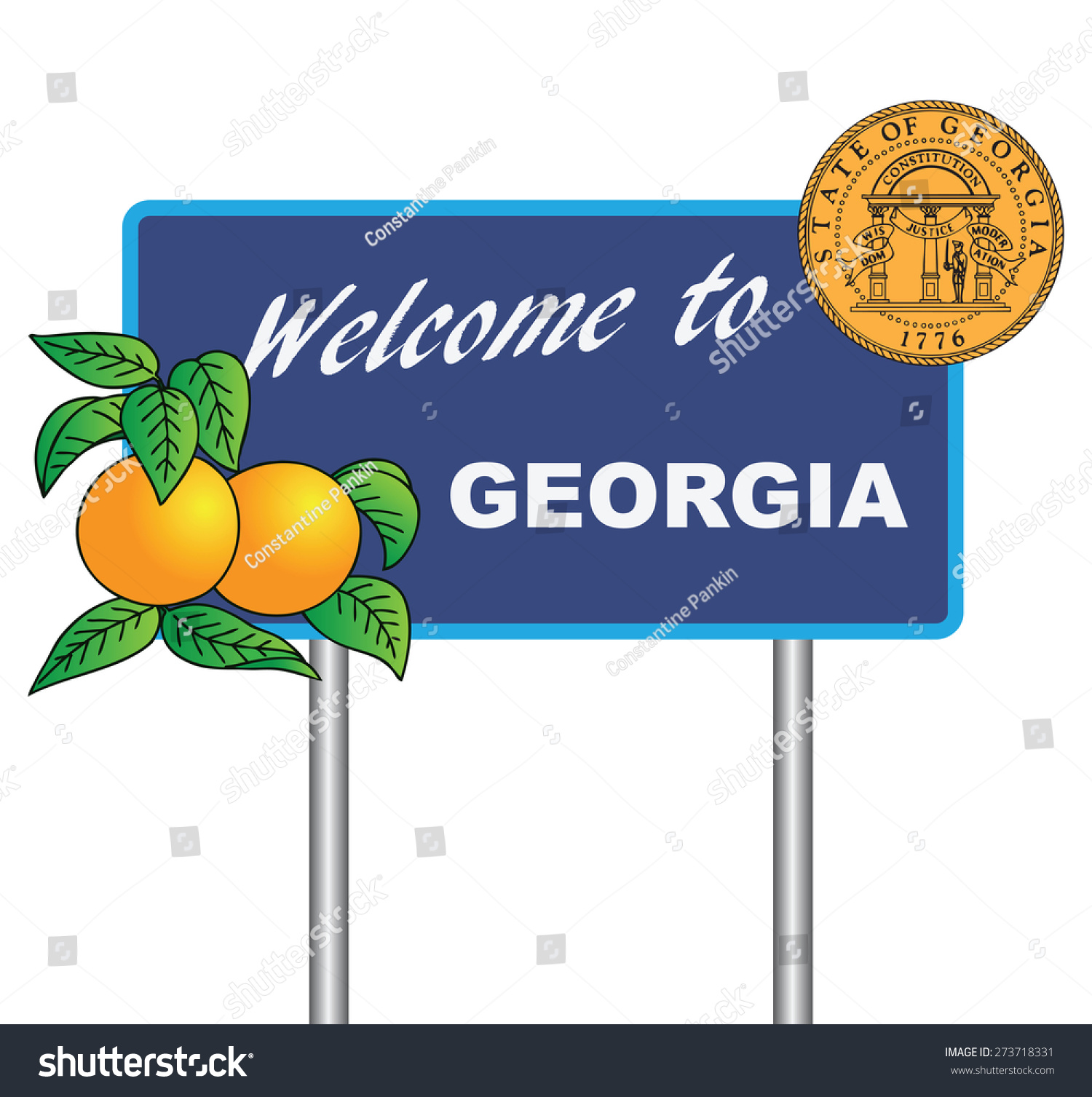 Road sign welcome georgia symbols state stock vector 273718331 road sign welcome to georgia with the symbols of the state vector illustration biocorpaavc Gallery