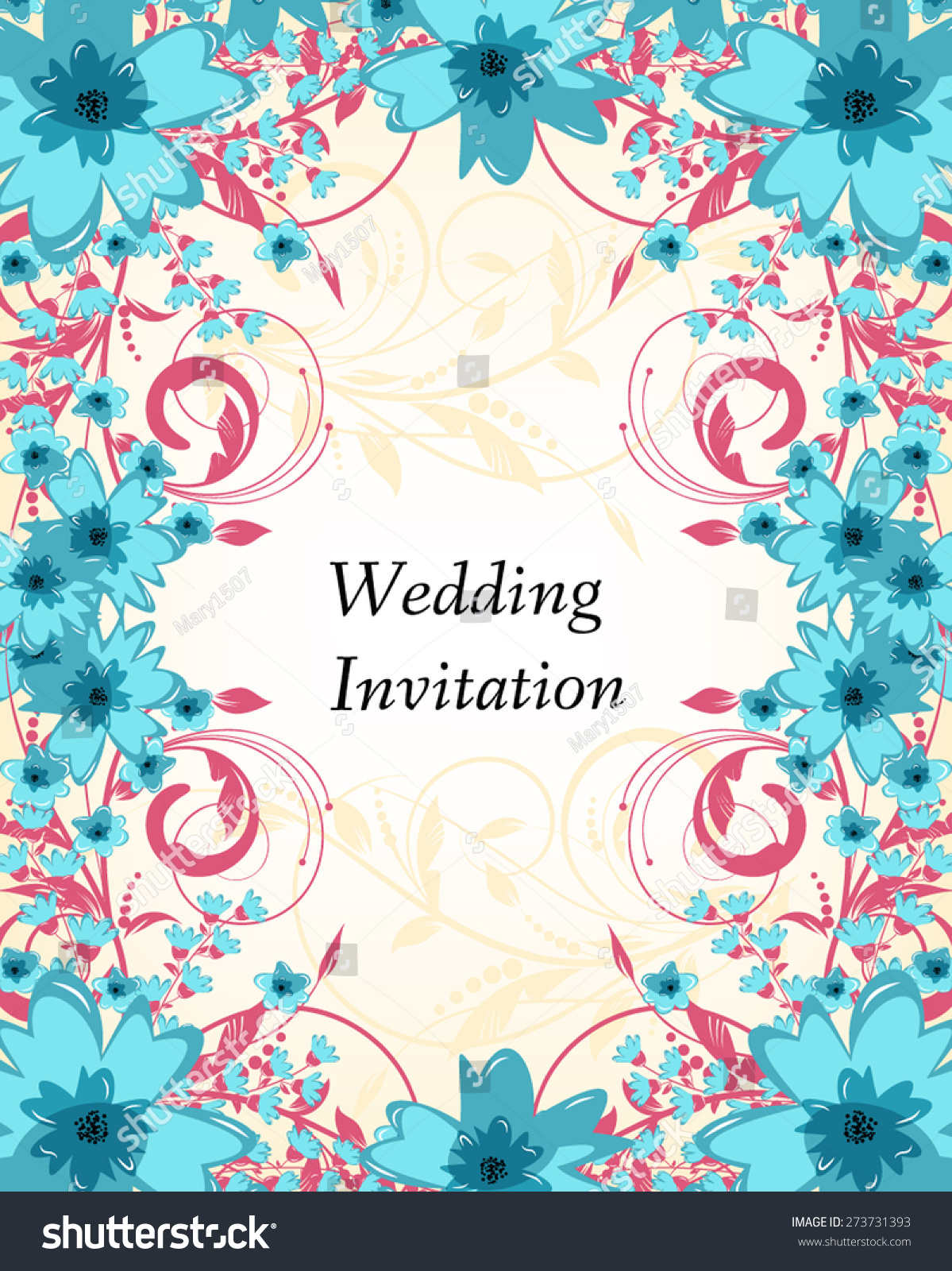 wedding invitation card flowers abstract colorful