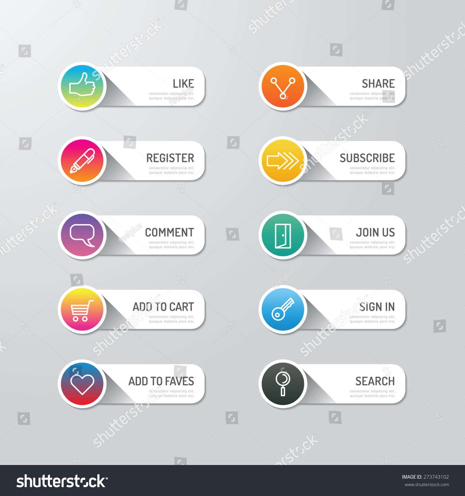 Modern banner button with social icon design options. Vector illustration. can be used for infographic workflow layout, banner, abstract, colour, graphic or website layout vector #273743102