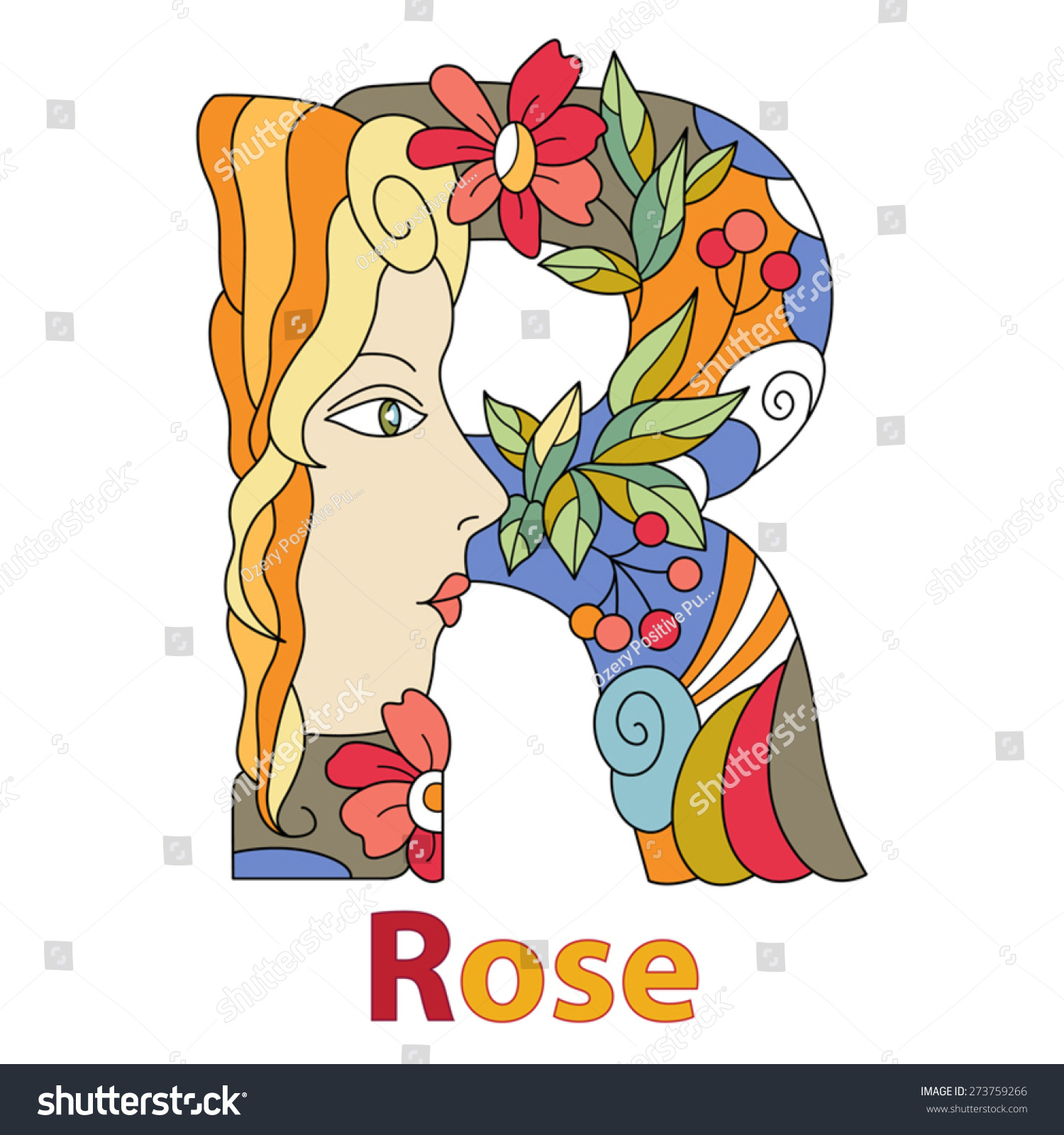 Name Rose Beautiful Decorative Capital Letter Stock Vector Royalty