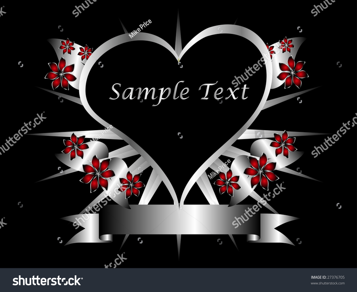 A Gothic Silver Floral Hearts Design With Room For Text On Black Background