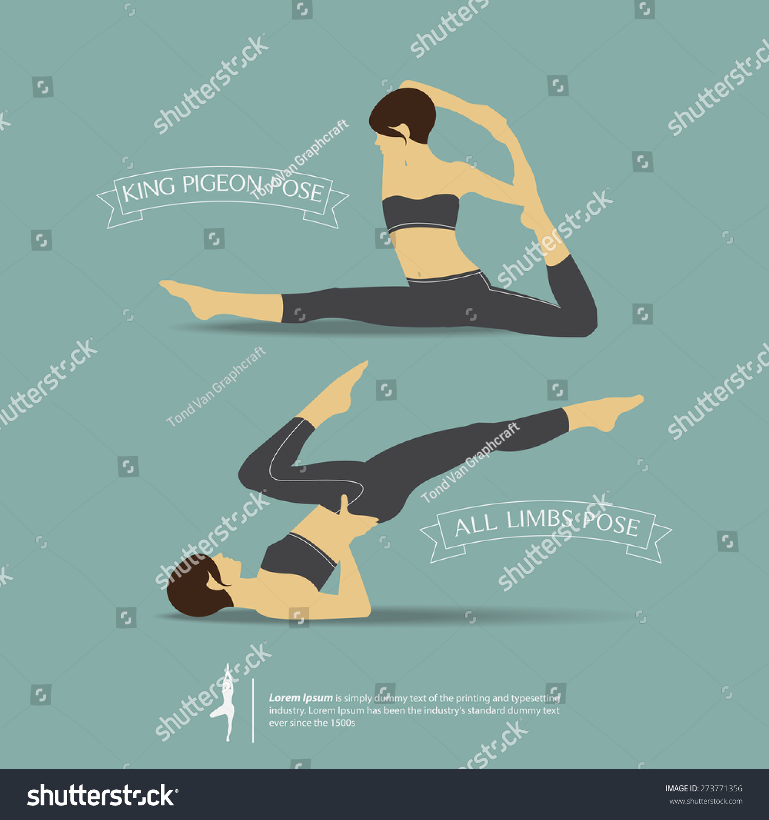 Yoga Poses Two Position King Pigeon Stock Vector (Royalty Free