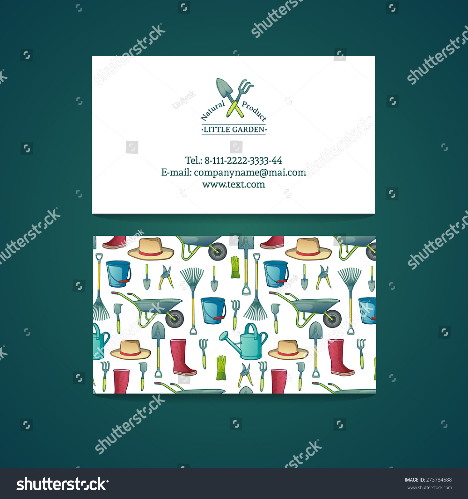 template design business card with garden tools pattern and card gardening vector place