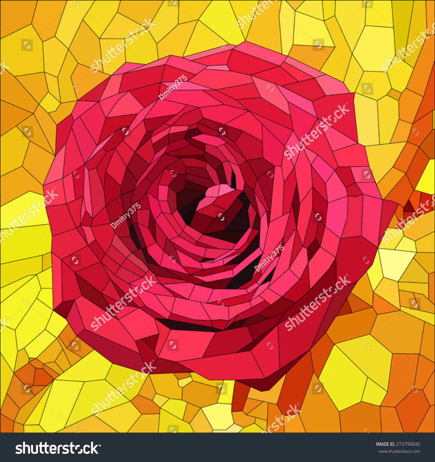 Red Stained Glass : Stained glass red rose on orange stock vector