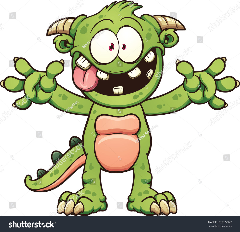 Green Cartoon Monster Vector Clip Art Stock Vector 273824927 ...