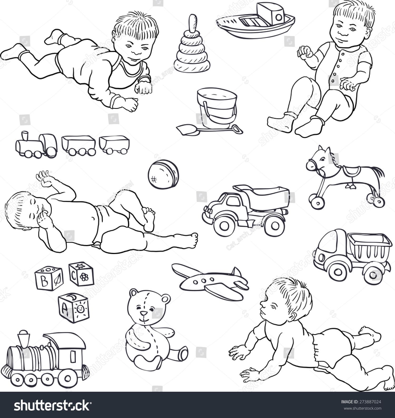 Baby Toys Drawing : Set line drawing babies toys carsbearhorseball stock