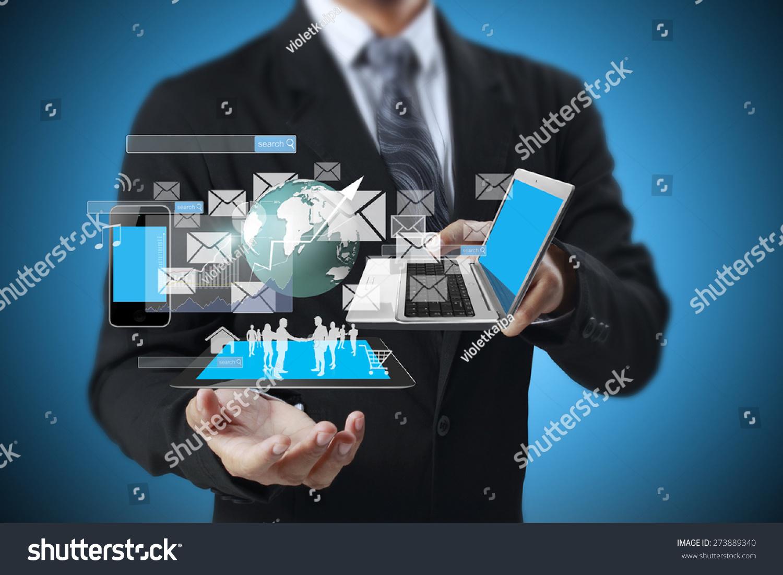 Technology Management Image: Technology Hands Businessmen Stock Photo 273889340
