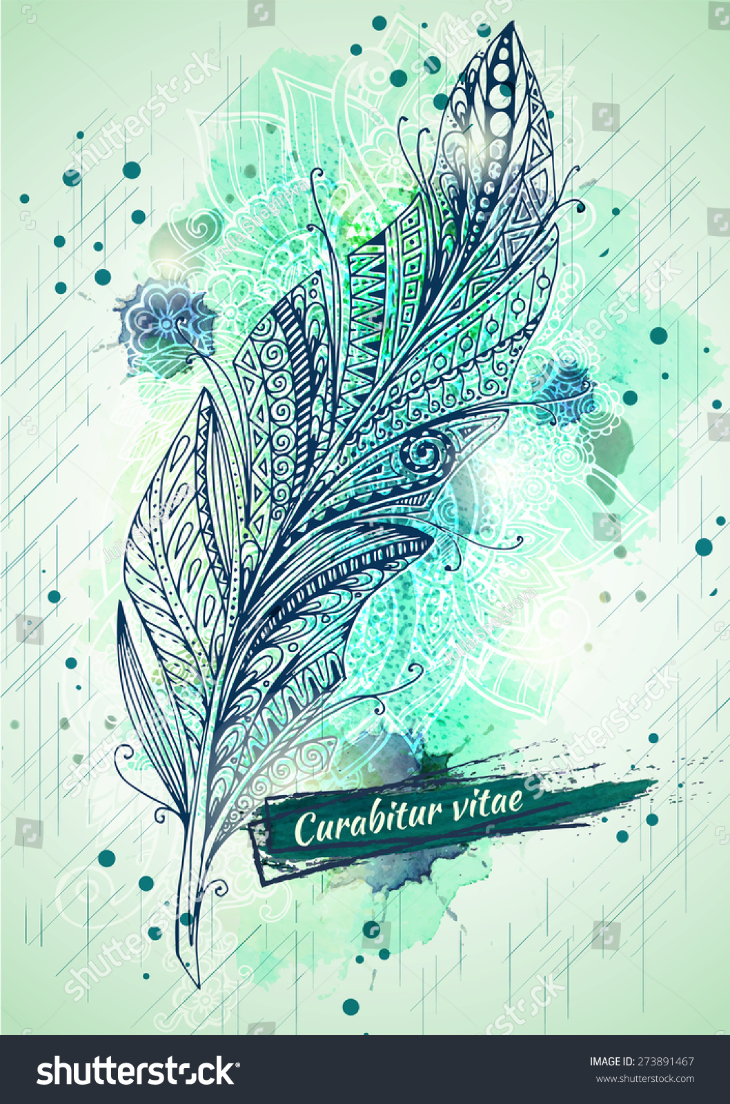 Vector template poster watercolor paint ink stock vector for Watercolor painting templates free