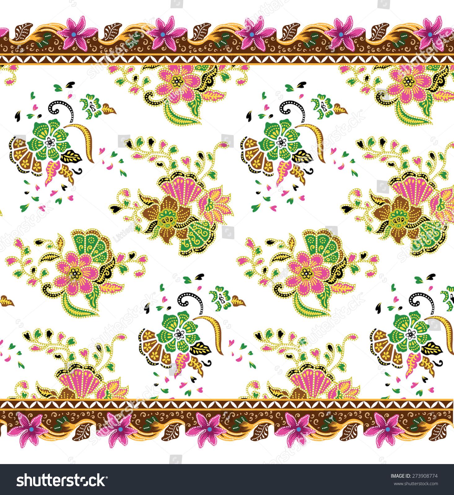 Batik Pattern. Art Design Background Vintage Fabric. Stock