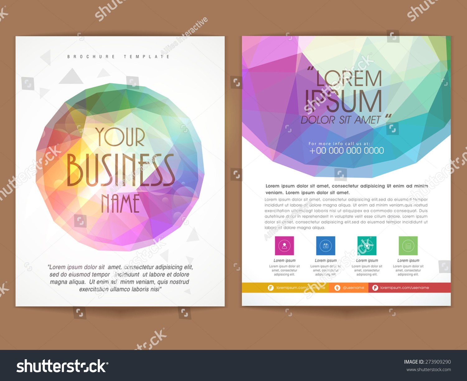 Colorful Two Pages Professional Brochure Template Stock Vector