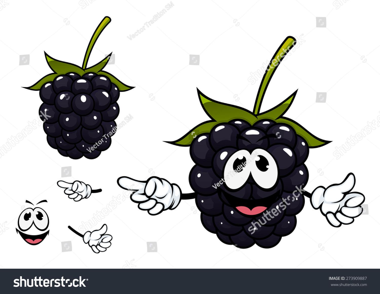 ripe succulent blackberry fruit cartoon character stock