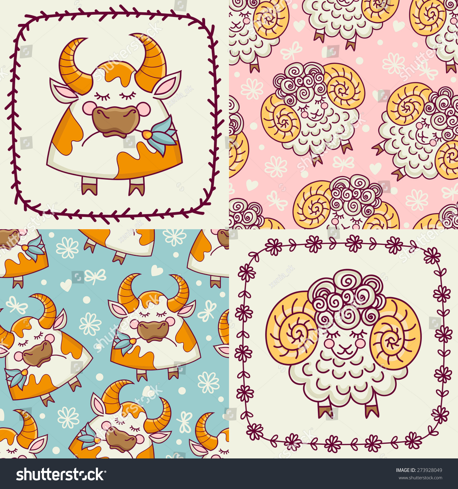 set templates cards seamless patterns animals stock vector 273928049