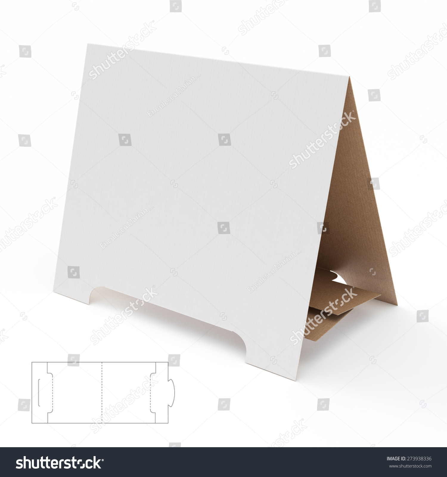 Blank cardboard display stand die cut stock illustration for Point of sale display template