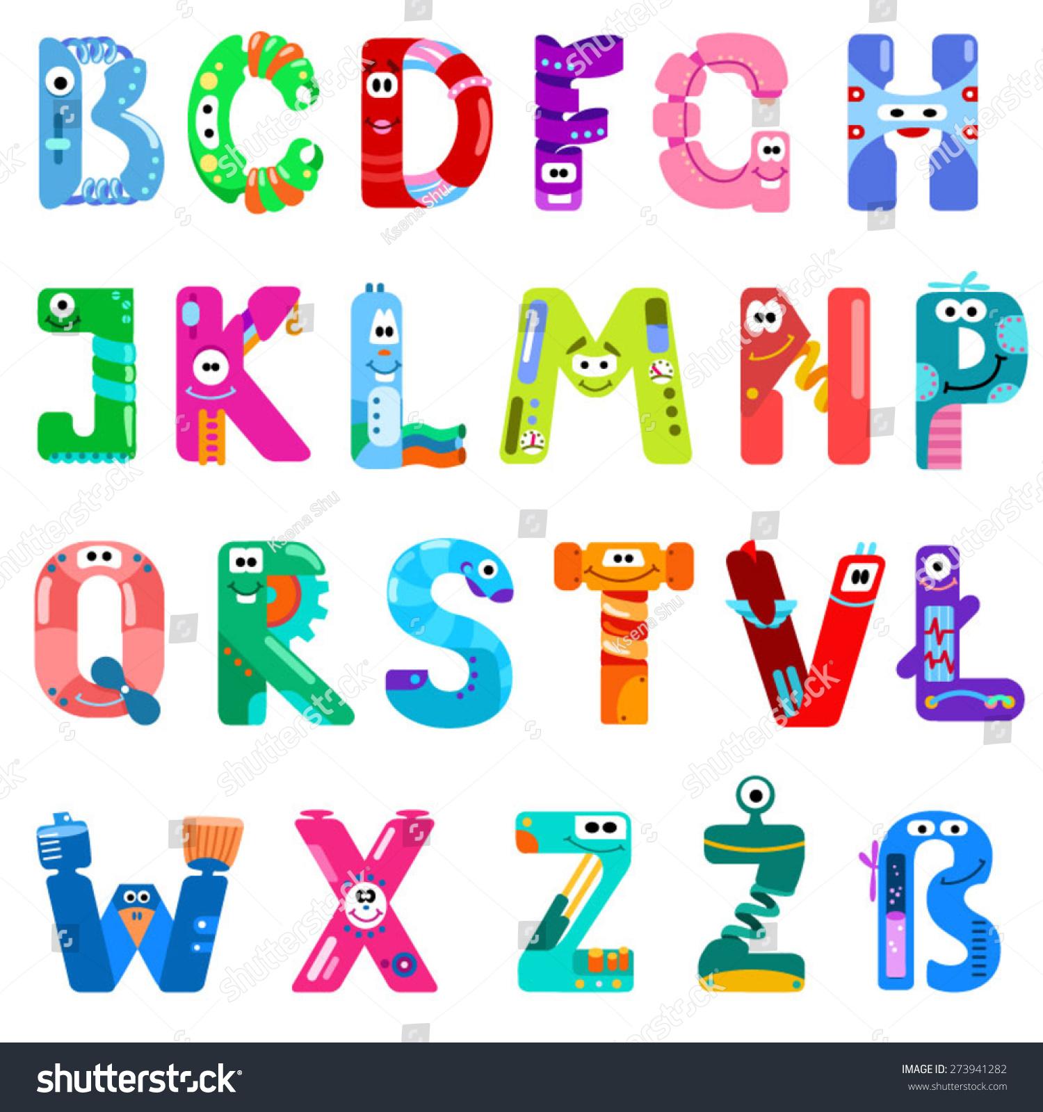 Consonants Latin Alphabet Like Different Robots Stock