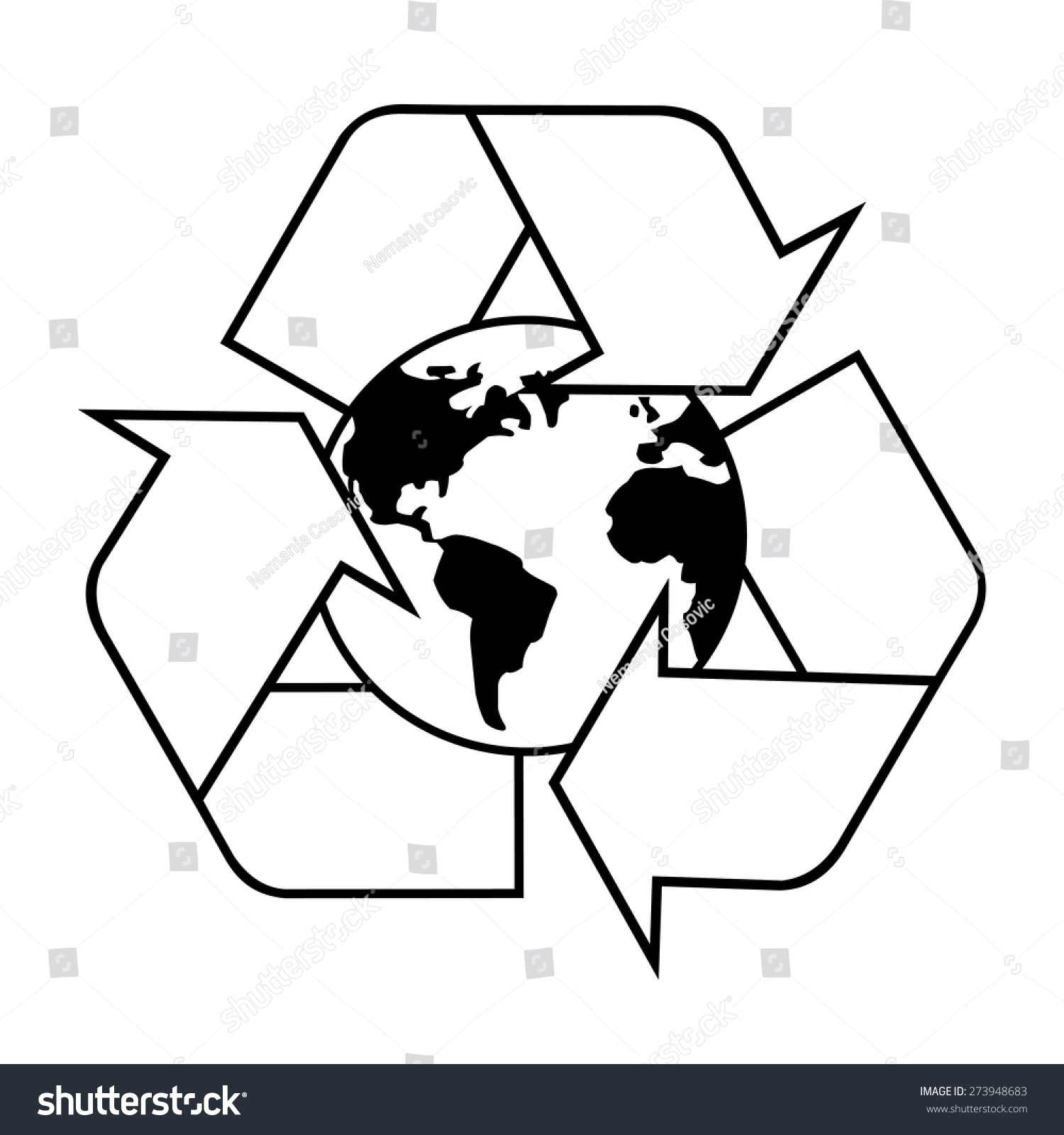 Recycle symbol planet earth black white stock vector 273948683 recycle symbol with planet earth black and white buycottarizona Choice Image