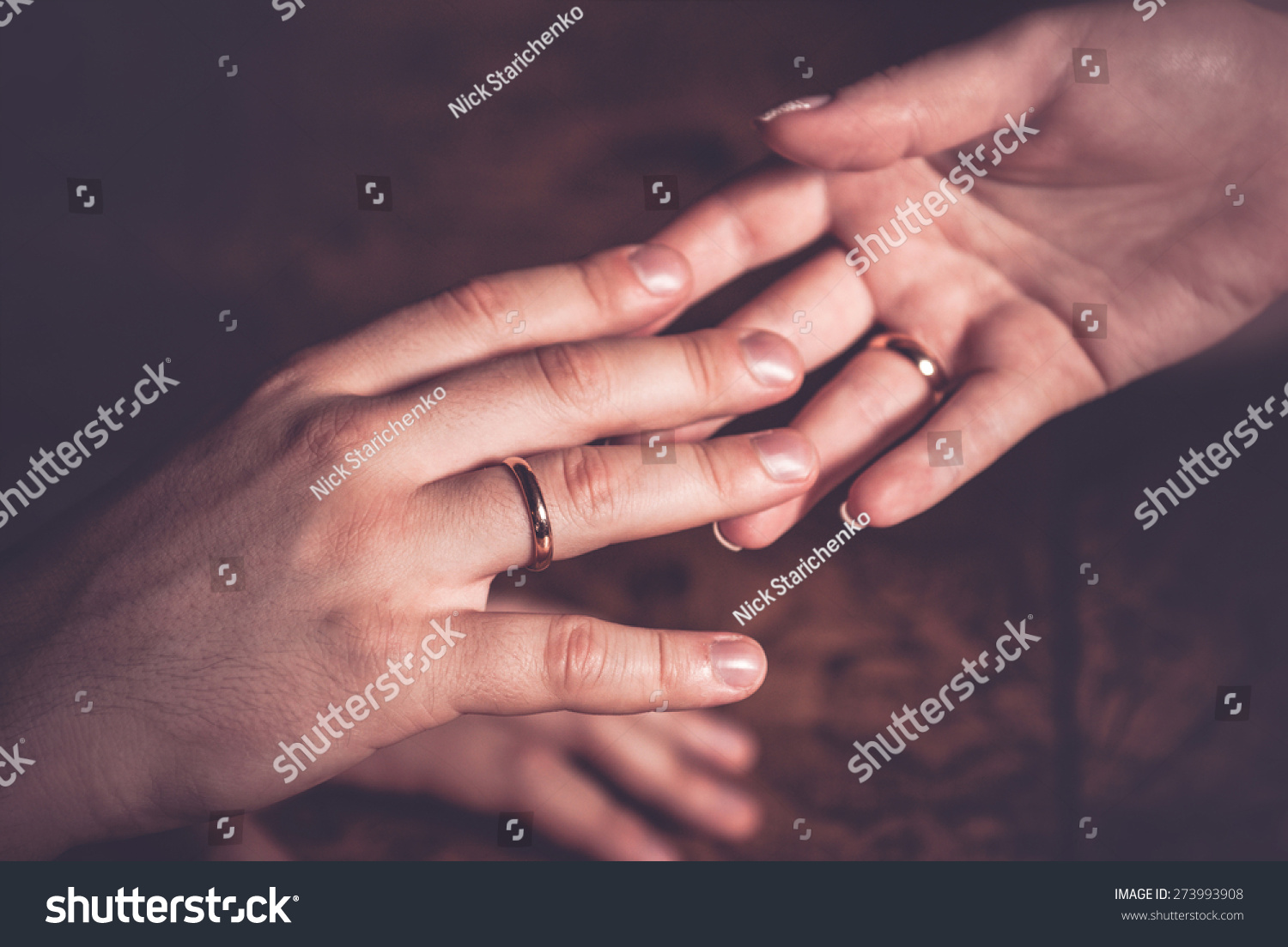 Wedding Couple Holding Hands Rings On Stock Photo (Royalty Free ...