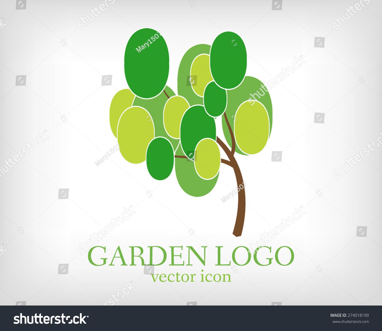 green tree garden logo template ecology stock vector