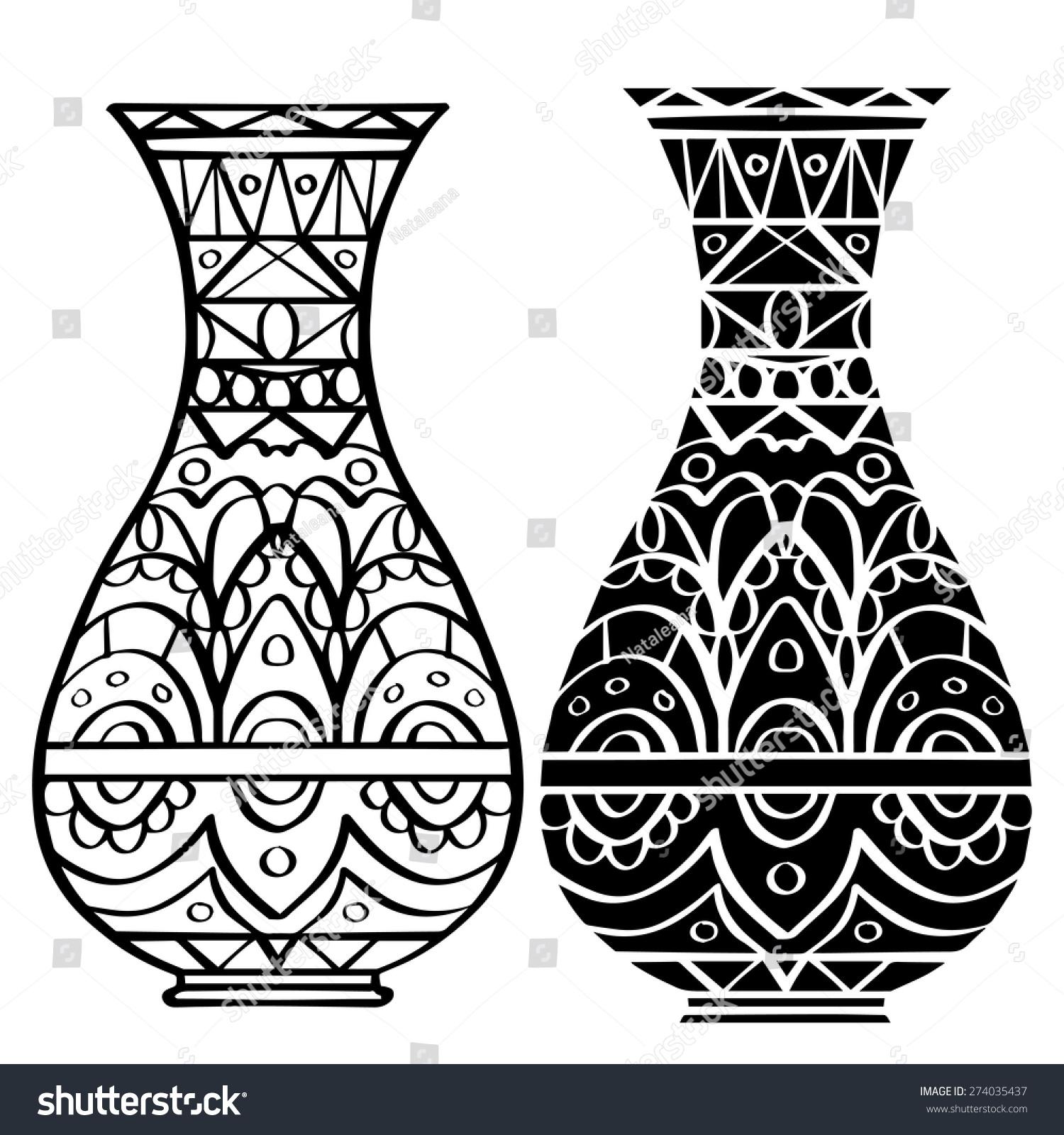 Line Drawing Vase : Hand drawn vase geometric pattern set stock vector