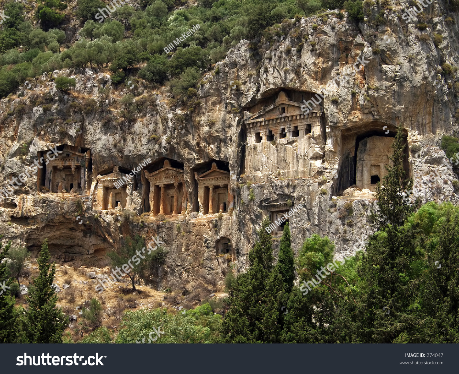 Rock Cut Cliff Face Tombs, Kaunos, Dalyan, Turkey Stock ...