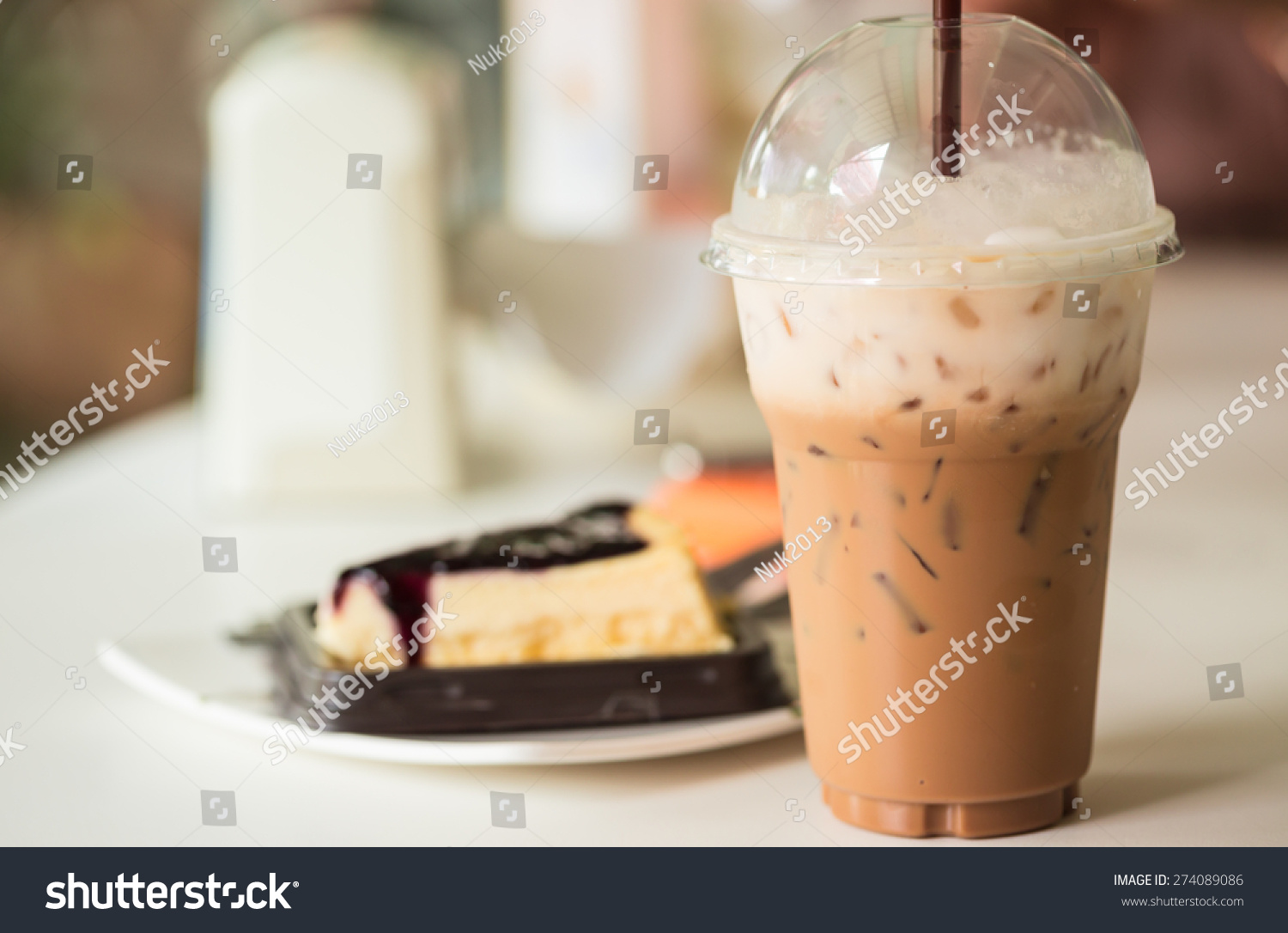 Iced Coffee Blueberry Cheese Cake Stock Photo 274089086 ...
