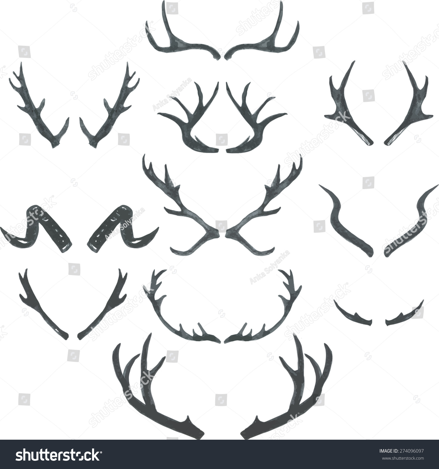 deer antlers drawing easy - photo #45