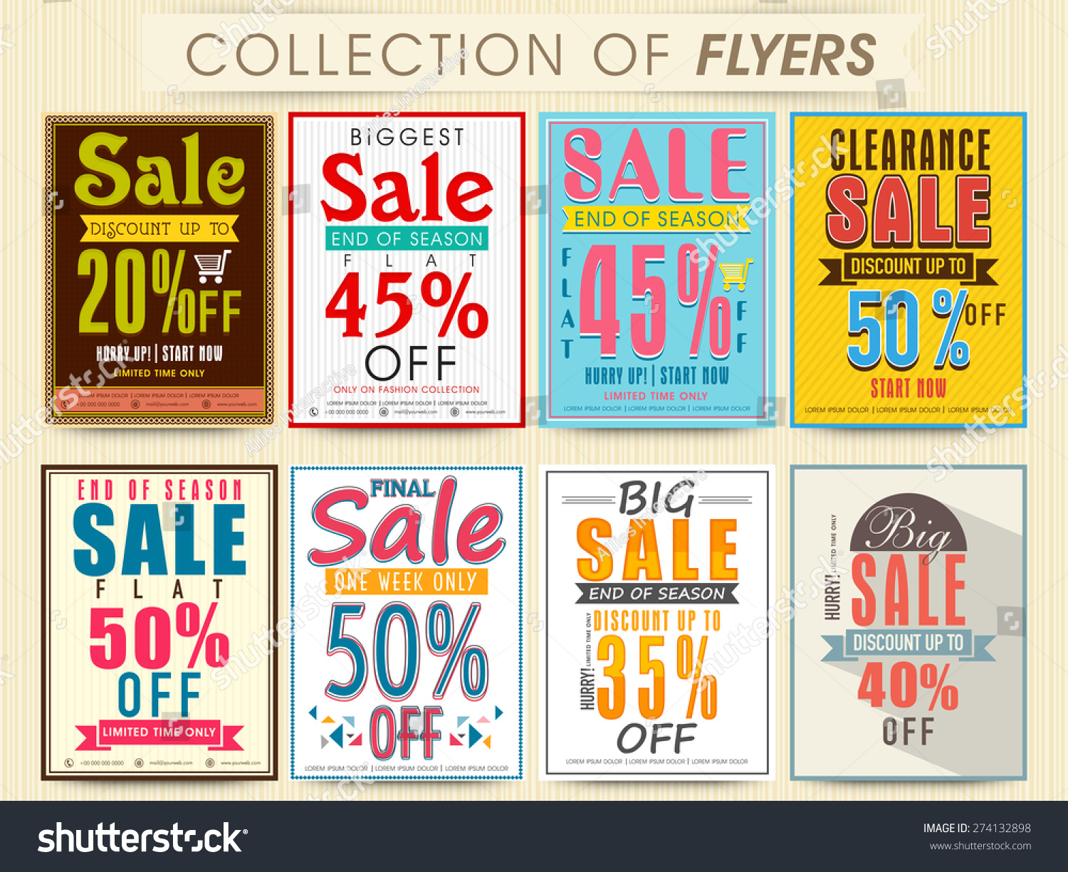 Posters Banners Flyers Collection End Season Stock Vektor ...