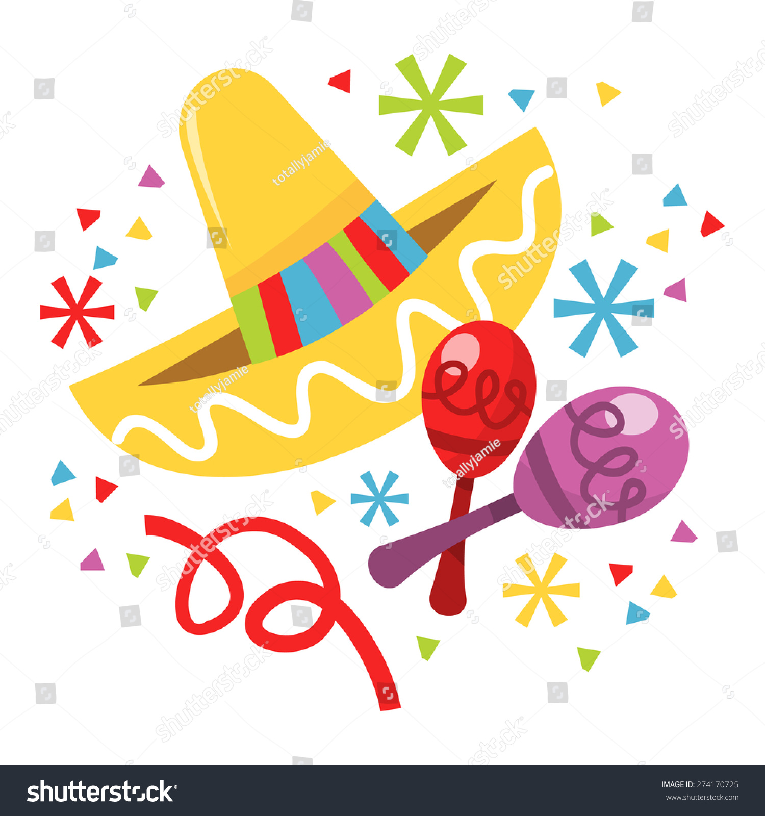 Maracas And Sombrero Clipart - More information
